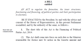 Financing of Political Parties Act