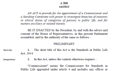 Standards in Public Life Bill